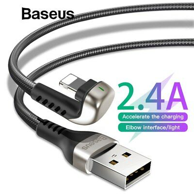 Baseus U-Shaped Elbow Lightning USB Fast Charger Data Cable for iPhone X 8 iPad