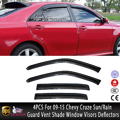 Front /& Rear Window Sun Visor Vent Rain Guard Shade 4pc for Volvo XC60 2009-2015