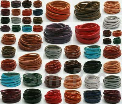 Genuine Hide Leather Flat Cord Thong DIY Jewelry Crafts 3mm 4mm 5mm options