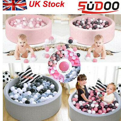 SUDOO Soft Baby Ball Pit Foam paddling Pool pit 90x30 with 200 Balls Grey/pink