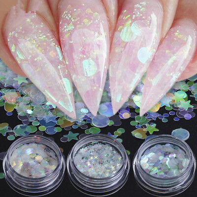1g Nail Sequins Holographic Nail Art Glitter Paillettes Star Heart Flower Flakes