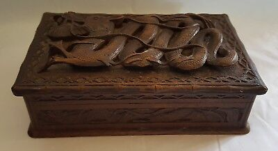 Chinese carved hard wood vintage Victorian oriental antique dragon box