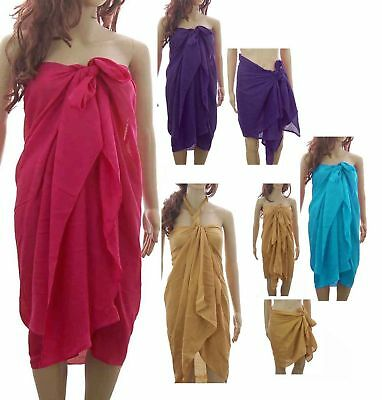 Plain Sarong Beaches Pool Large Cover Up Swimwear Wrap Pareo Free Size M/L/XL
