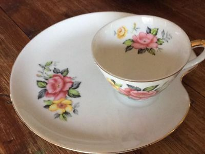 ST KILDA  Australia  cup saucer tennis set china collectable FLORAL shabby chic