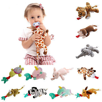 Newborn Baby Dummy Pacifier Chain Clip Plush Animal Toys Soother Nipples AU