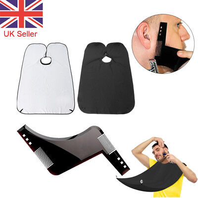 Mens Facial Beard Styling Apron Whisker Trimming Catcher Template Comb Barber UK
