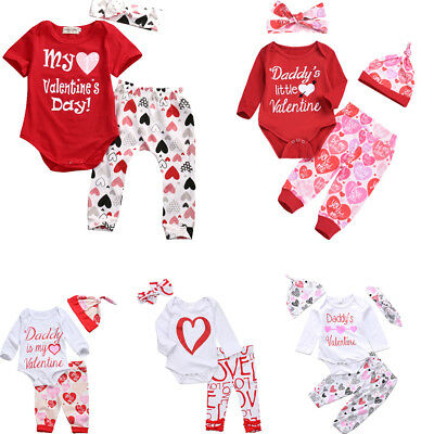 3PCS Newborn Baby Girl Boy My 1st Valentine's Day Romper Pants Outfits Set Gifts
