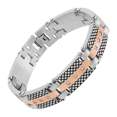 """Men's Ribbed Two-Tone Link Bracelet in Rose Gold-Plated Stainless Steel, 8.5"""""""