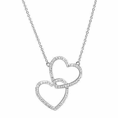 Crystaluxe Stacked Hearts Pendant with Swarovski Crystals, Sterling Silver, 18""