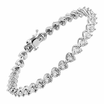 1/2 ct Diamond Heart Tennis Bracelet in Sterling Silver, 7""