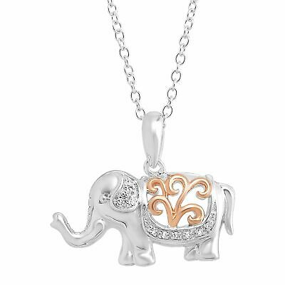 """Filigree Elephant Pendant with Diamonds in Sterling Silver w Rose Gold, 18"""""""