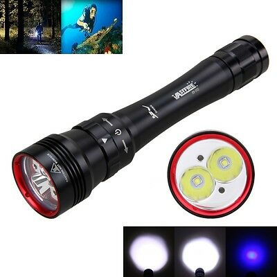 Rechargeable 20000LM 2x XM-L2+Blue LED Super Bright Scuba Diving Flashlight Lamp