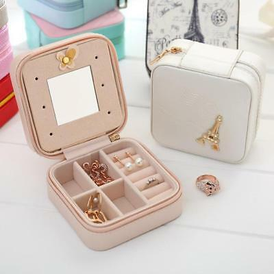 Exquisite Towel Decorative Shiny Crystal Zipper Jewelry Organizer Box Display N7