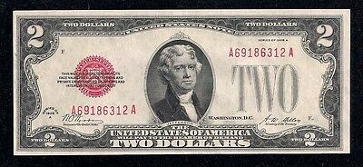1928-A, Red Seal, Fr# 1502, $2.00 Legal Tender / U.S.Note, Key, in Choice Au!!!