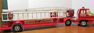 STRUCTO HOOK & LADDER FIRE TURBINE TRUCK 1960s PRESSED STEEL TOY