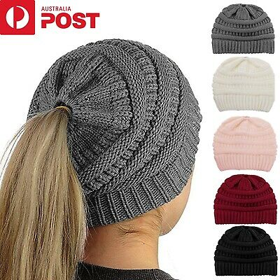 Women Ponytail Hat Beanie Messy Bun Cap Winter Knit Warm Stretch Soft Skull Caps