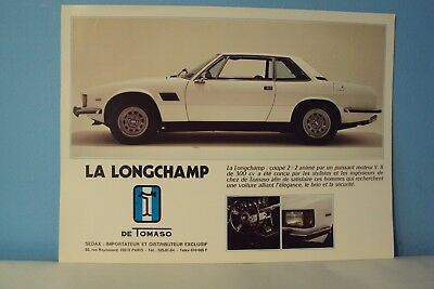 Rare  Catalogue  De Tomaso  Longchamp         Etat  Neuf     Stock  Garage