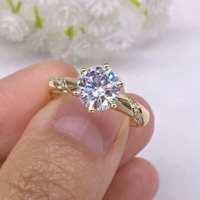 2.00 Ct Round Cut Diamond Engagement Ring Solid 10k Yellow Gold