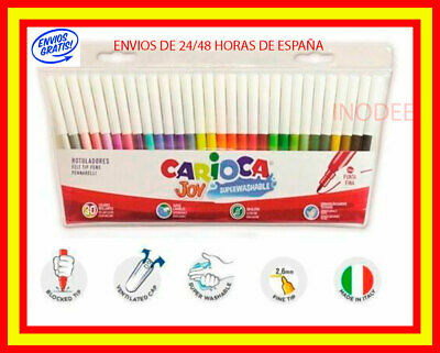 Caja 30 rotuladores carioca joy pack juego color brillante lavable uso escolar