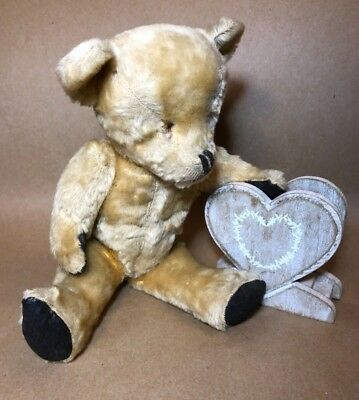 07406f16c19 ANTIQUE VINTAGE TEDDY BEAR Wood Wool 14.5