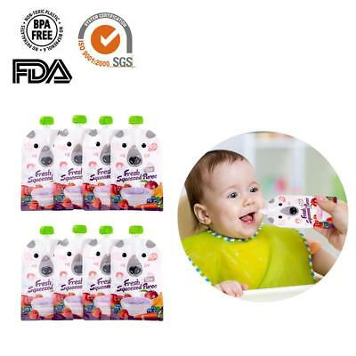 8x Newly Reusable Resealable Squeeze Food Pouch Storage Bags DIY Baby Food 200ML