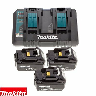 Makita DC18RD 14.4v/18v LXT Li-ion Twin Port Charger + 3 x BL1860 6Ah Batteries