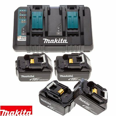 Makita DC18RD 14.4v/18v LXT Li-ion Twin Port Charger + 4 x BL1860 6Ah Batteries