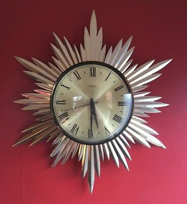 Vintage Original 1960/70's Metamec Sunburst Wall Clock Mid Century Retro Chic