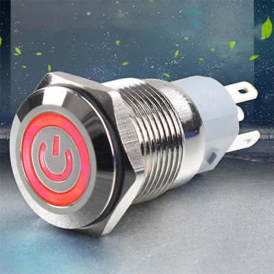 12V Momentary Metal Switch Horn Push Button - 16mm Boat LED IP67 Waterproof ISV