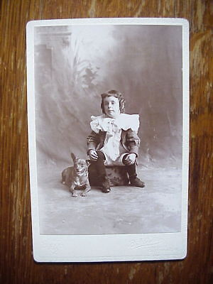 Antique CABINET CARD PHOTO of Cute LITTLE BOY with his TERRIER DOG