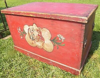 Antique Theater Troupe Costume Trunk Painted dovetailed campier wood
