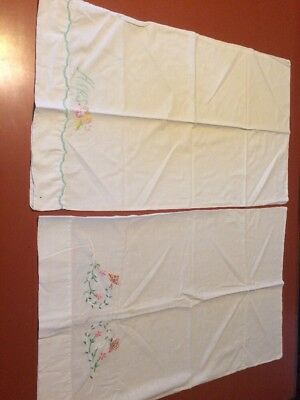 Vintage Embroidered Pillowcases Lot Of 2