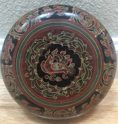 Vintage Burmese Hand Painted Lacquer Large Round  Box
