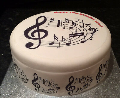 Personalised Musical Notes 02 pre-cut Edible Icing Cake Topper or Ribbon