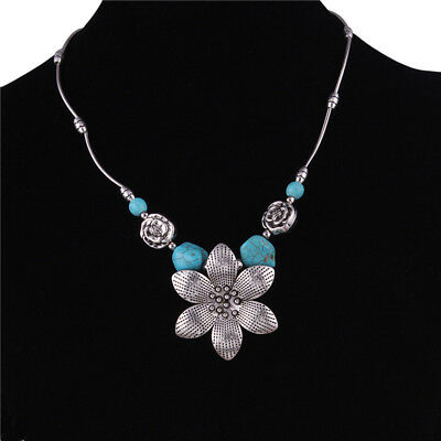 Bohemian Style Sunflower Turquoise Short Necklace Collar Pendants Jewelry N7