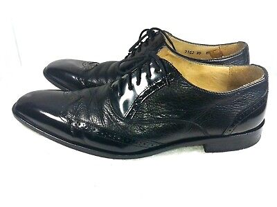 Mercanti Fiorentini Black Oxford WingTip Brogue Leather Lace Up Shoes Size  10M 9dc90dbb13a
