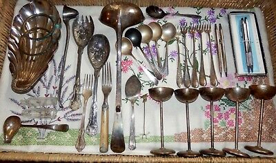Lot Silver Old Vintage Antique Silver Plate Misc. Cross Pen Sets