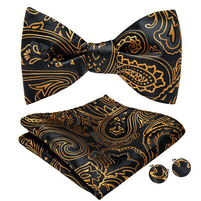 Black Gold Paisley Mens Silk Self Bow tie Set Woven Hanky Cufflinks Wedding Prom