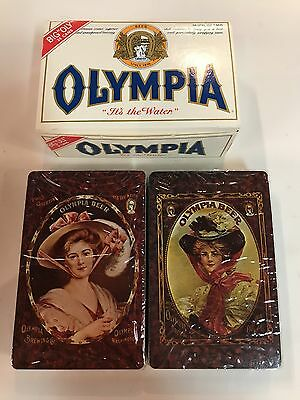 Vintage -2 Decks Olympia Beer Playing Cards-Victorian Pin-up Girls New in Box
