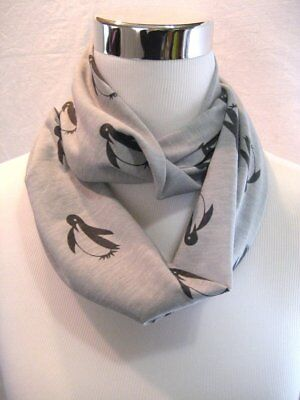 Baby TODDLER childs kids Gray Penguin Grey jersey knit Infinity Scarf PHOTO PROP