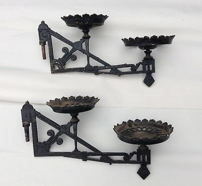 Lot of 2  Double Victorian Era Cast Iron Oil Lamp Wall Sconce