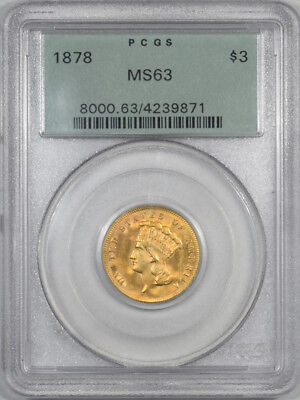 1878 $3 Dollar Gold Pcgs Ms-63 Premium Quality! Old Green Holder