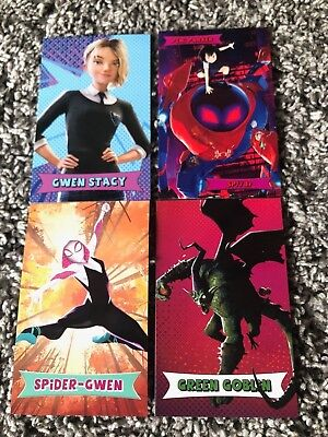 SPIDER-MAN INTO THE SPIDER-VERSE cards amc theaters trading 4 cards