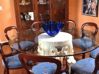 """72"""" Round Glass Dining room Table w/ 8 Chairs"""