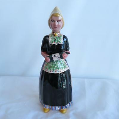 Vintage BOLS Hand Painted Ceramic Liquor Bottle Decanter Dutch Woman Girl