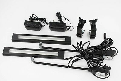 Set of 2 Trade Show LED Light 20w + Clamp + 24v UL Power Scratched imperfection