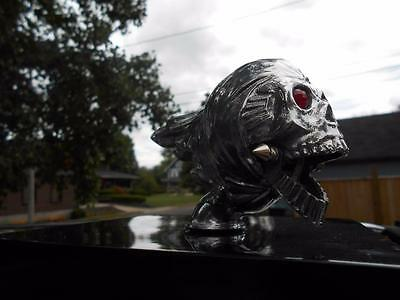 Moving Articulated Jaw Flying Zombie Skull Harley Fender Ornament Nos Museum