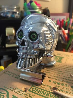 Flying Skull W/Green Glass Eyes Fender/Hood-Ornament Hot-Rod-Rat-Rod Truck/Semi