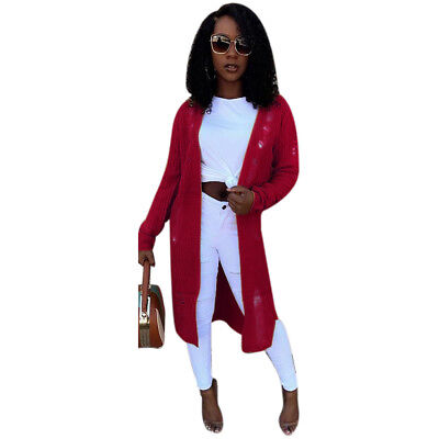 Street Style Irregular Ribbed Knitted Trench Coat Womens Fashion Solid Coat