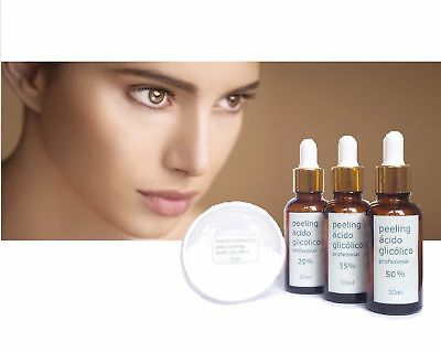 ★3x PACK PEELING ACIDO GLICOLICO Kit 20% 30ml + 35% 30ml+ 50% 30ml+NEUTRALIZADOR